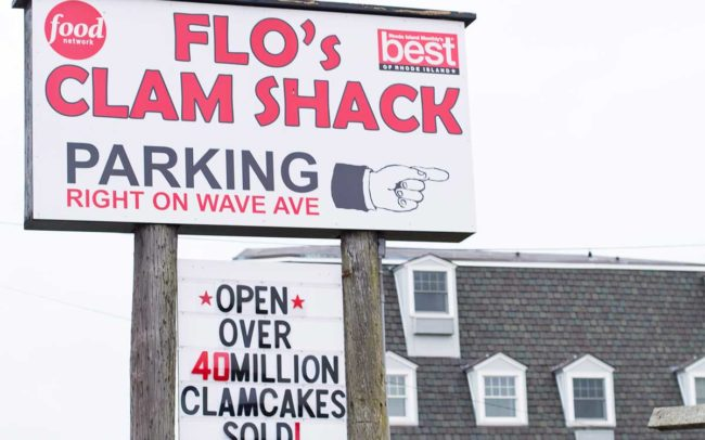 Flo's Clam Shack, seafood, restaurant, Rhode Island, seafood restaurant, sign, signage